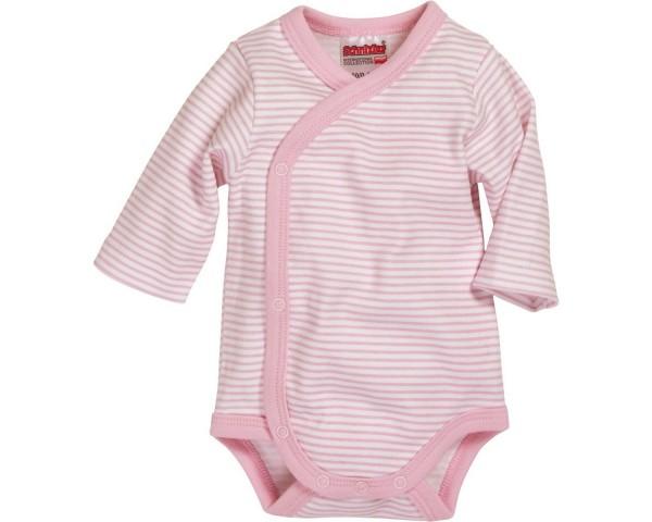 Schnizler Baby - Wickelbody Mädchen Ringel Langarm rosa