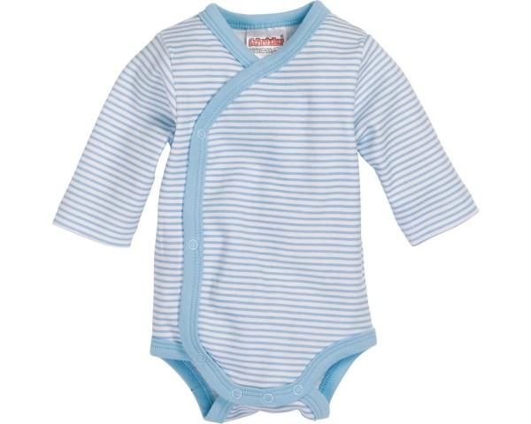Schnizler Baby - Wickelbody Jungen Ringel Langarm blau Gr. 56