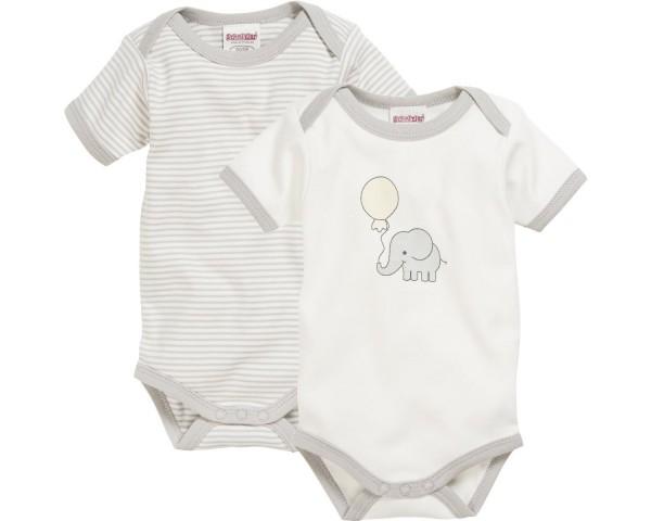Schnizler Baby - Body 1/4-Arm 2er Pack Elefant natur Gr. 74/80