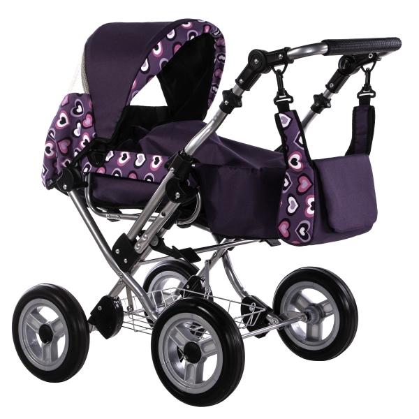ZEKIWA Puppenwagen Zeki de luxe Herzen Violett