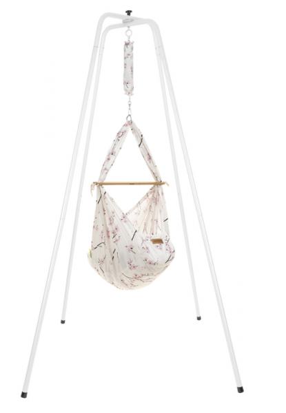 NONOMO Federwiegen-Set Baby Classic mit Kunstfaser-Matratze & Gestell basic weiß - Cherry Blossom