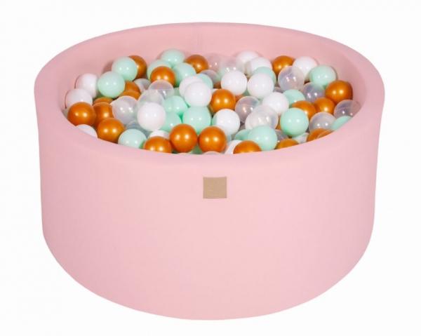 MeowBaby Bällebad 90X40cm Pink (Weiß/Gold/Transparent/Mint) 300 Bälle