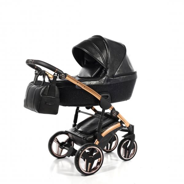JUNAMA Kombi Kinderwagen Glitter Black-Gold