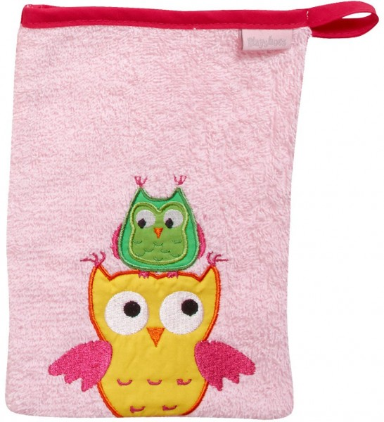 Playshoes Frottee-Waschhandschuh Eule, rosa