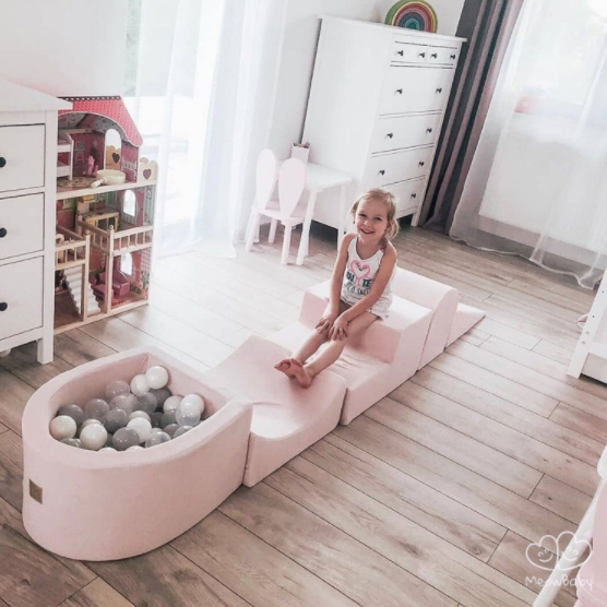 MeowBaby Schaumspielset Hell Pink mit Bällebad und 100 Bälle zum selber Gestalten nach Wunsch