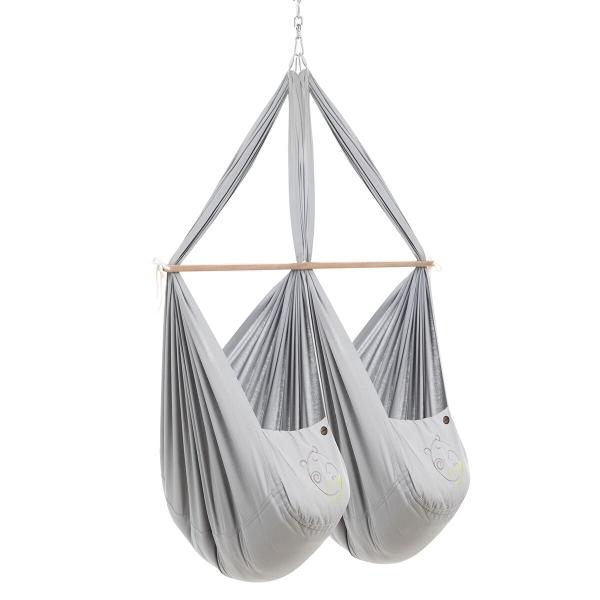 NONOMO Federwiegen-Set Zwilling Classic mit Kunstfaser-Matratze und Deckenbefestigung - grau