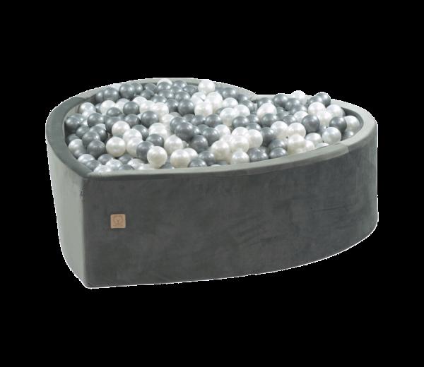 MiSiOO Bällebad Velvet Herz 138x128cm Grau mit 300 Bällen zum selber Gestalten nach Wunsch