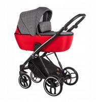 Baby Merc Kombikinderwagen La Rosa LN02 - grau-rot/schwarz