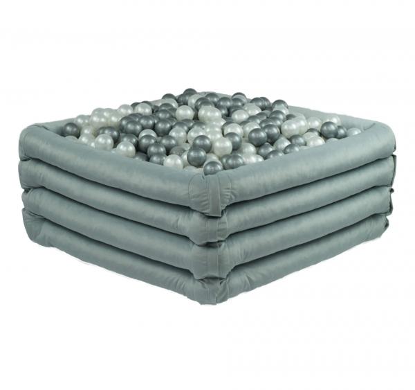MiSiOO Bällebad Comfort+ eckig 110x110x45cm Hellgrau mit 300 Bällen zum selber Gestalten nach Wunsch