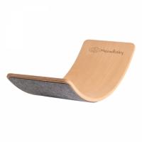MeowBaby Balance Board grau mit Filz 80x30 cm aus Holz für Kinder, bis 200 kg