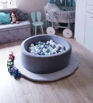 MeowBaby Bällebad 90x40cm dunkelgrau mit 300 Bällen zum selber Gestalten nach Wunsch