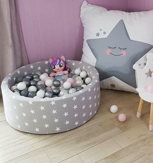 MeowBaby Bällebad 90x40cm hellgrau Sterne mit 300 Bällen aus eigener Farbmischung